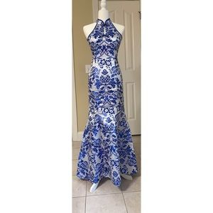 Blue & White Qipao Gown for Weddings & Events